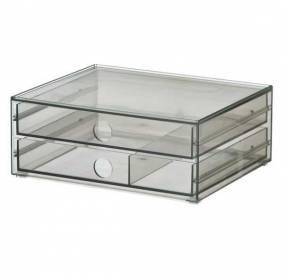 Minicómoda transparente ahumado con 2 cajoncitos Godmorgon