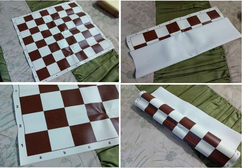 Tablero ajedrez enrollable de vinilo 50x50 cm color burdeos - 0