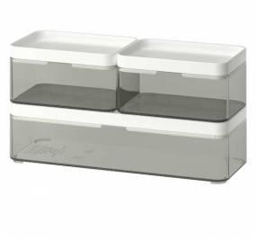 Caja organizadora, juego de 3, gris transparente Broground