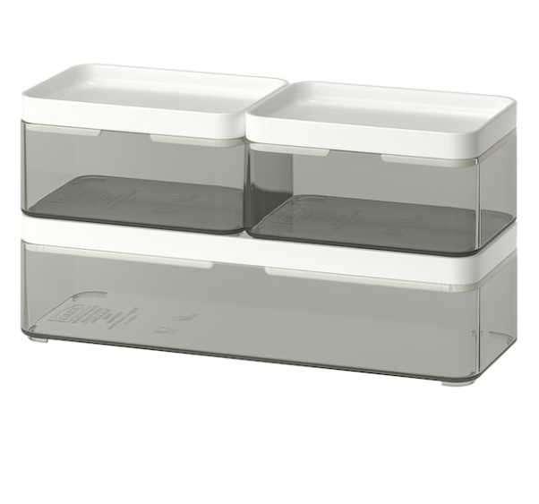 Caja organizadora, juego de 3, gris transparente Broground - 0