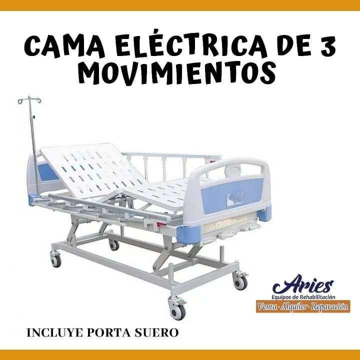 Cama Electrica de Tres Movimientos con Porta Suero - 0