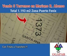 3 terrenos en Mariano Roque Alonso zona Puerto Fénix
