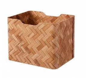 Caja decorativa bambú marrón 25x32x25 cm Bullig