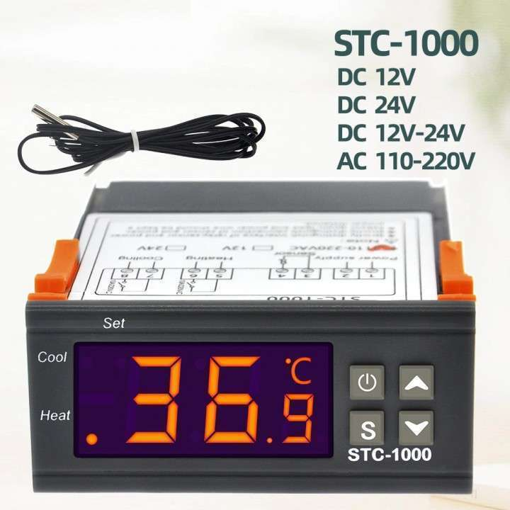 Termostato digital con sonda STC-1000 para incubadora - 0