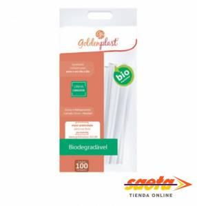 Pajitas 25 cm biodegradable Goldenplast por 100 unidades