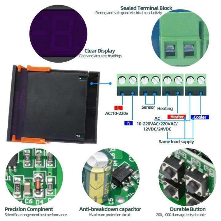 Termostato digital con sonda STC-1000 para incubadora - 2