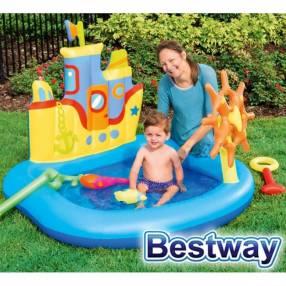 Piscina Infantil 84 lts Bestway Barco Marino 52211 + inflador