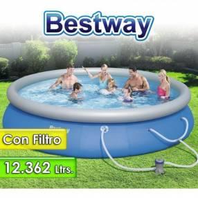 Piscina Borde Inflable 12.362 lts Bestway 57023 + Filtro e inflador