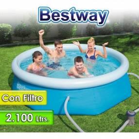 Piscina borde inflable Bestway 2100 litros con filtro 57268