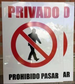 Cartel Privado Prohibido pasar