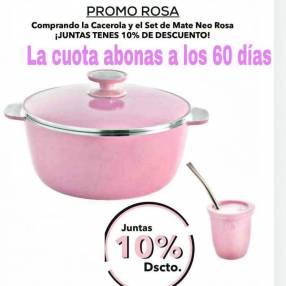 Olla Essen de 24 cm rosa + matero rosa