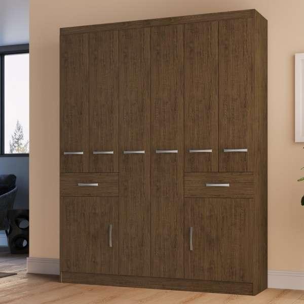 Ropero de 8 puertas color marrón - 0