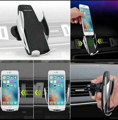 Soporte con sensor y cargador inalámbrico para celulares luo - 0