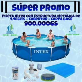 Pileta Intex + cobertor + carpa base