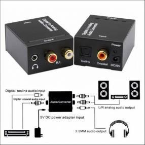 Convertidor Audio Digital Toslink Optico Coaxial a RCA