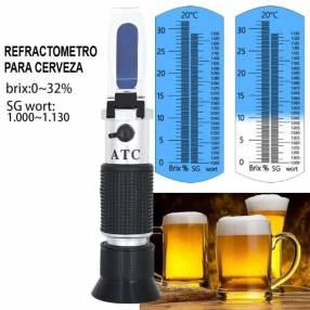 Refractómetro para cerveza escala dual 1.000-1.300 y brix 0