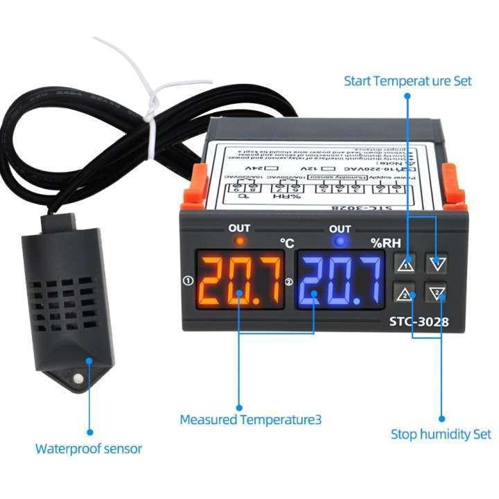 Termostato + control humedad con sonda STC-3028 para incubadora - 2
