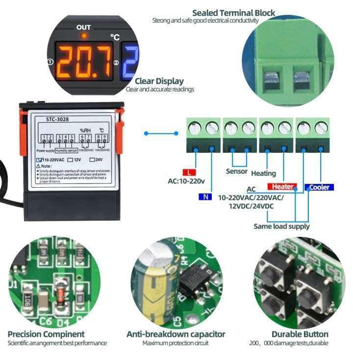 Termostato + control humedad con sonda STC-3028 para incubadora - 6