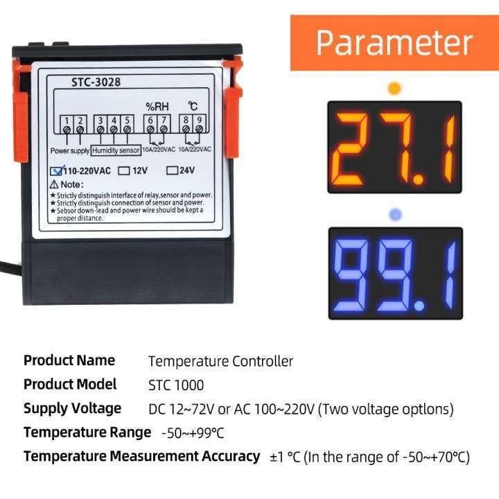 Termostato + control humedad con sonda STC-3028 para incubadora - 1