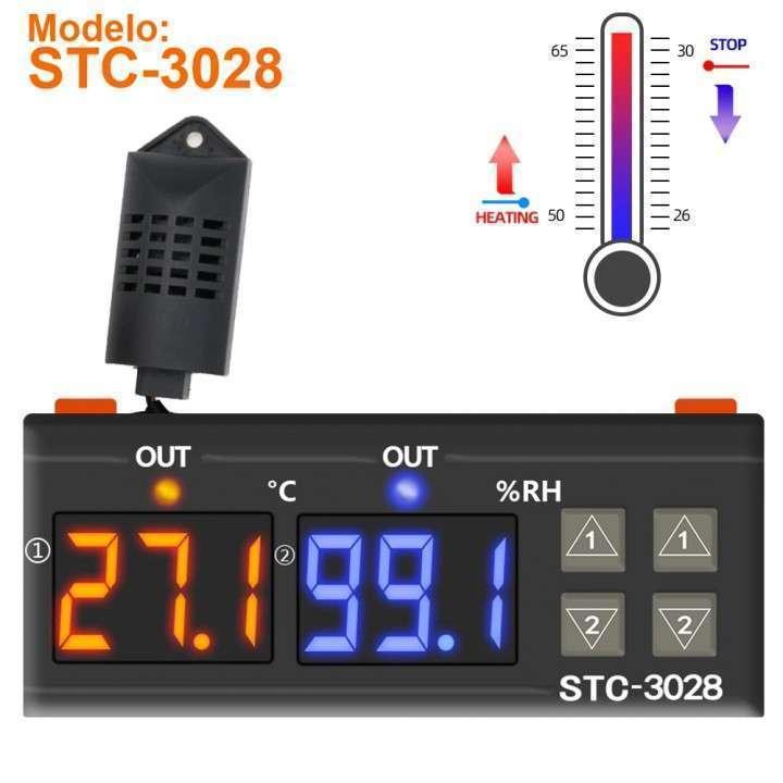 Termostato + control humedad con sonda STC-3028 para incubadora - 0