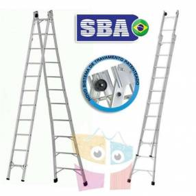 Escalera 582 cm articulada extensible de aluminio 11+11 peldaños SBA P011