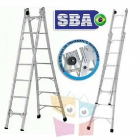 Escalera 372 cm articulada extensible de aluminio 7+7 peldaños SBA P007