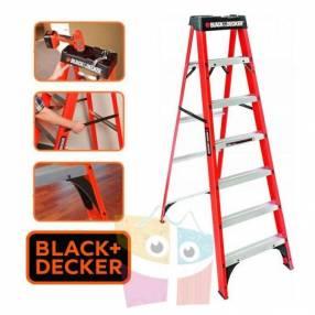 Escalera 213 cm tijera de fibra de vidrio Black+Decker 7 peldaños dieléctrica