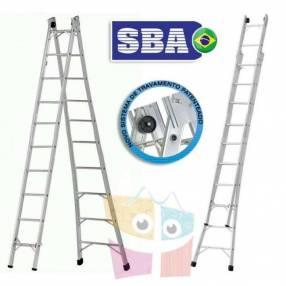 Escalera 552 cm articulada extensible de aluminio 10+10 peldaños SBA P010