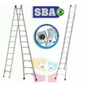 Escalera 642 cm articulada extensible de aluminio 12+12 peldaños SBA P012