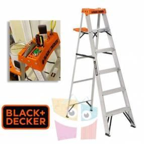 Escalera 182 cm tijera de aluminio Black+Decker 6 peldaños