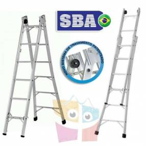 Escalera 312 cm articulada extensible de aluminio 6+6 peldaños SBA P006
