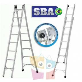 Escalera 432 cm articulada extensible de aluminio 8+8 peldaños SBA P008