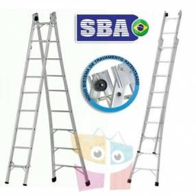 Escalera 492 cm articulada extensible de aluminio 9+9 peldaños SBA P009