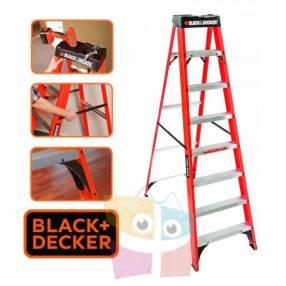 Escalera 243 cm tijera de fibra de vidrio Black+Decker 8 peldaños dieléctrica