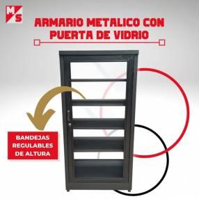 Armario metálico con puerta de vidrio