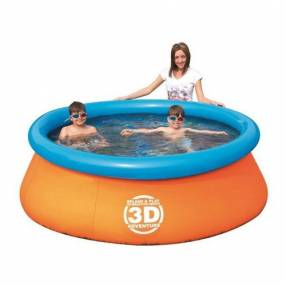 Piscina oval 3D con borde inflable 1.610 litros 57244B