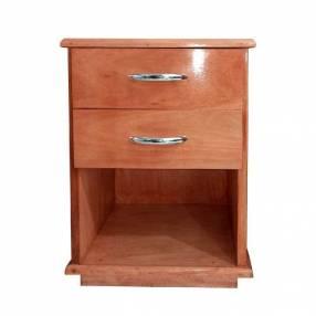 Mesa de luz de madera con 2 cajones