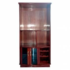 Estante modular de 090 cm para tv con cristalera de madera