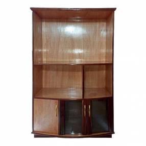 Estante modular de 110 cm para tv con cristalera de madera