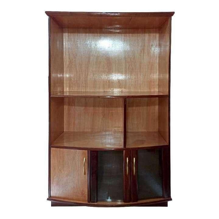 Estante modular de 110 cm para tv con cristalera de madera - 0