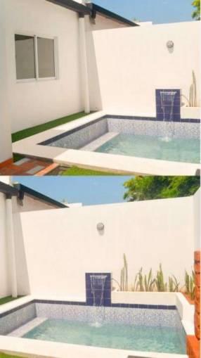 Casa cocina amoblada y placard barrio cerrado con piscina