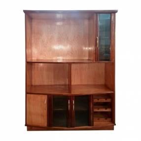 Estante modular de 140 cm para TV con cristalera de madera nar