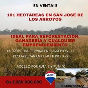 Terreno de 101 hectáreas en San José de los Arroyos