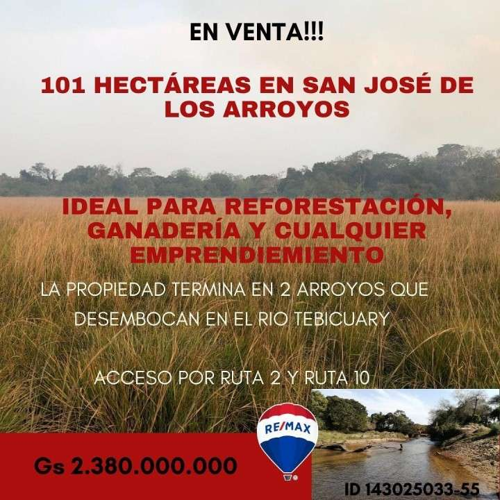 Terreno de 101 hectáreas en San José de los Arroyos - 0