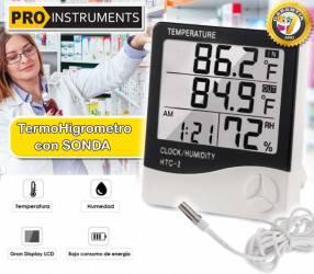 Termohigrometro Digital LCD con Sonda Temperatura y humedad