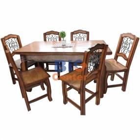 Juego comedor rustico con 6 sillas (3118)