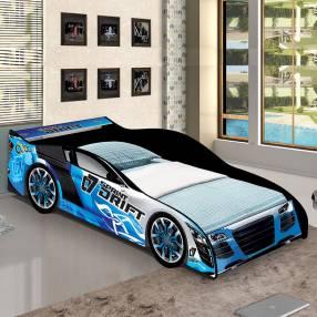 Cama auto Drift J&A Abba azul con colchón 2908 1111
