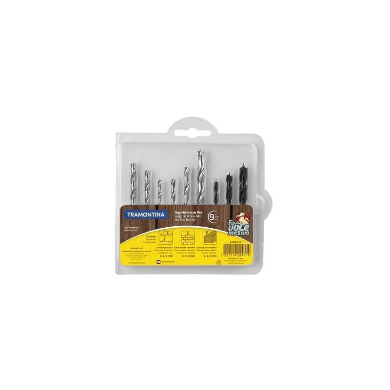 Taladro atornillador 10mm c/ bat, de litio + juego de mecha mix 9 piezas - 0