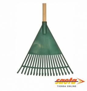 Rastrillo o escoba de jardín plástico 44x40cm cabo de madera