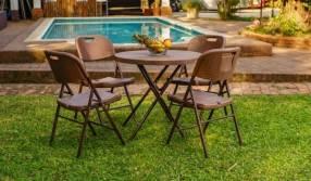 Juego de mesa estilo rattán para jardín